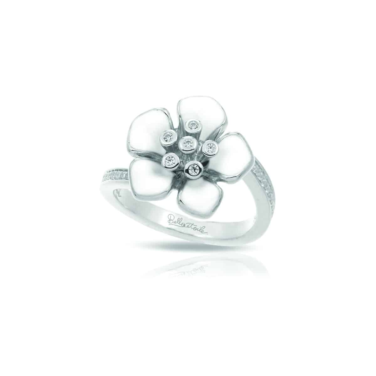 Belle Étoile Forget-Me-Not White Ring