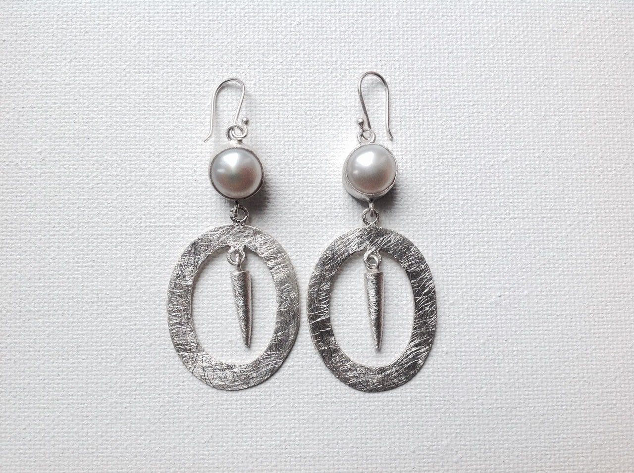 Sterling Silver Fresh Water Pearl Spike Earrings