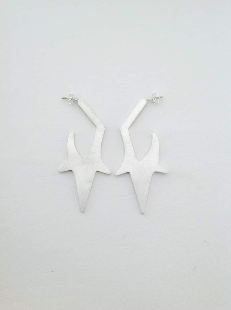 Sterling Silver Spike Hoops