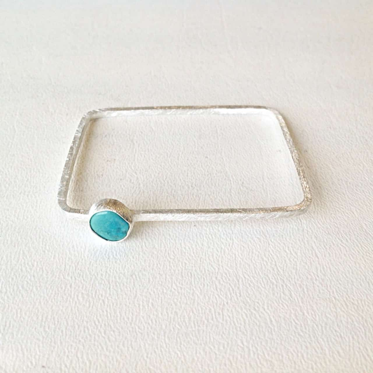 Sterling Silver Turquoise Stackable Square Bangle
