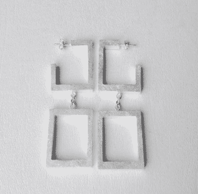 Sterling Silver Square Double Hoops