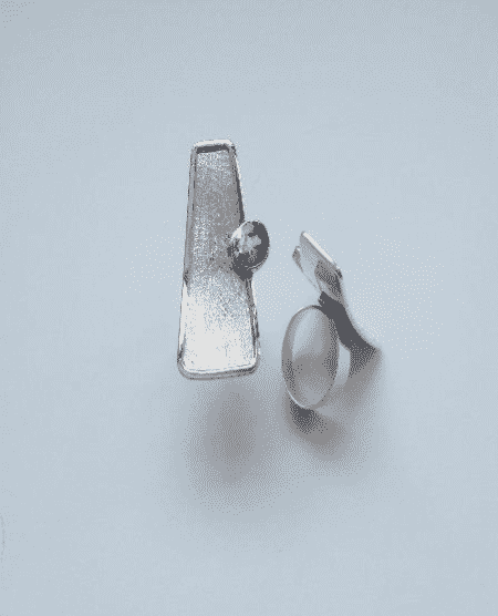 Sterling Silver Gemstone Asymmetric Adjustable Ring