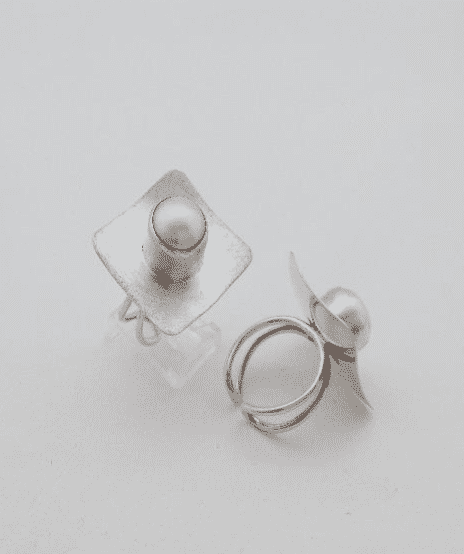 Sterling Silver Fresh Water Pearl Square Adjustable Ring