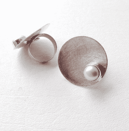 Sterling Silver Fresh Water Pearl Disk Adjustable Rng