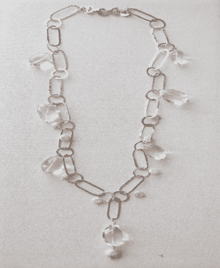 Sterling Silver Fresh Water Pearl Quartz Link Necklace