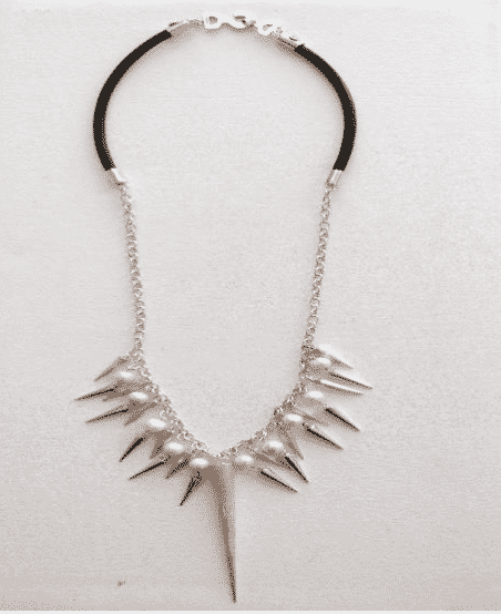 Sterling Silver Fresh Water Pearl Spike Leather Necklace