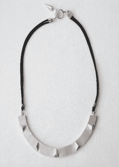 Sterling Silver Stud Leather Necklace