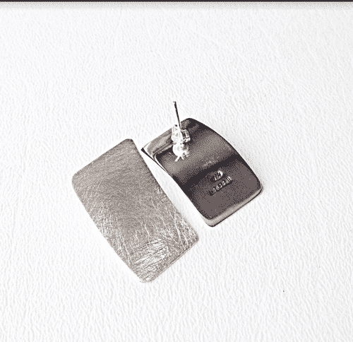 Sterling Silver Rectangular Earrings