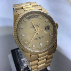 SOLD – Men's Rolex Day Date Factory Diamond Dial