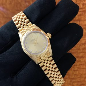 SOLD – Ladies Rolex Oyster Perpetual Solid Gold Diamond Dial