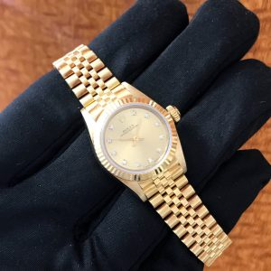 Ladies Rolex Oyster Perpetual Solid Gold Diamond Dial