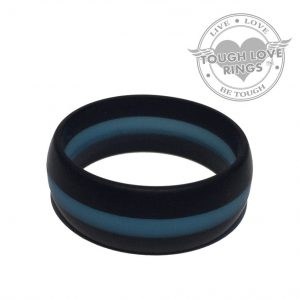 TOUGH LOVE – Striped BLACK/BLUE Thin Line FIRE Silicone Ring (Wide band, 8.7mm)