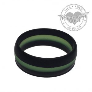 TOUGH LOVE – Striped BLACK/GREEN Thin Line FIRE Silicone Ring (Wide band, 8.7mm)