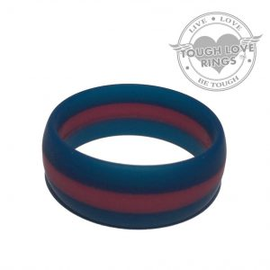TOUGH LOVE – Striped NAVY/MAROON Thin Line Silicone Ring (Wide band, 8.7mm)