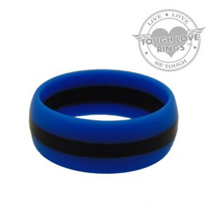 TOUGH LOVE – Striped SKY BLUE/BLACK Thin Line Silicone Ring (Wide band, 8.7mm)