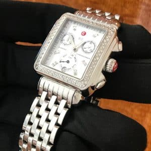 SOLD – Ladies Michele Diamond Deco Chronograph
